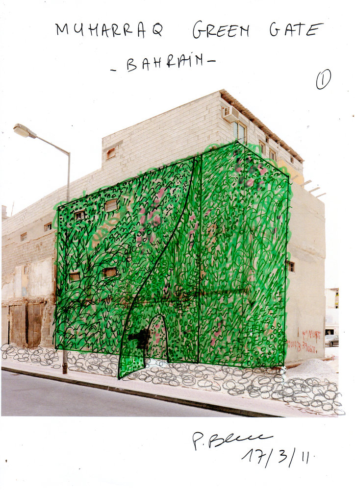 Muharraq, Bahrain, Green Gate, Sketch
