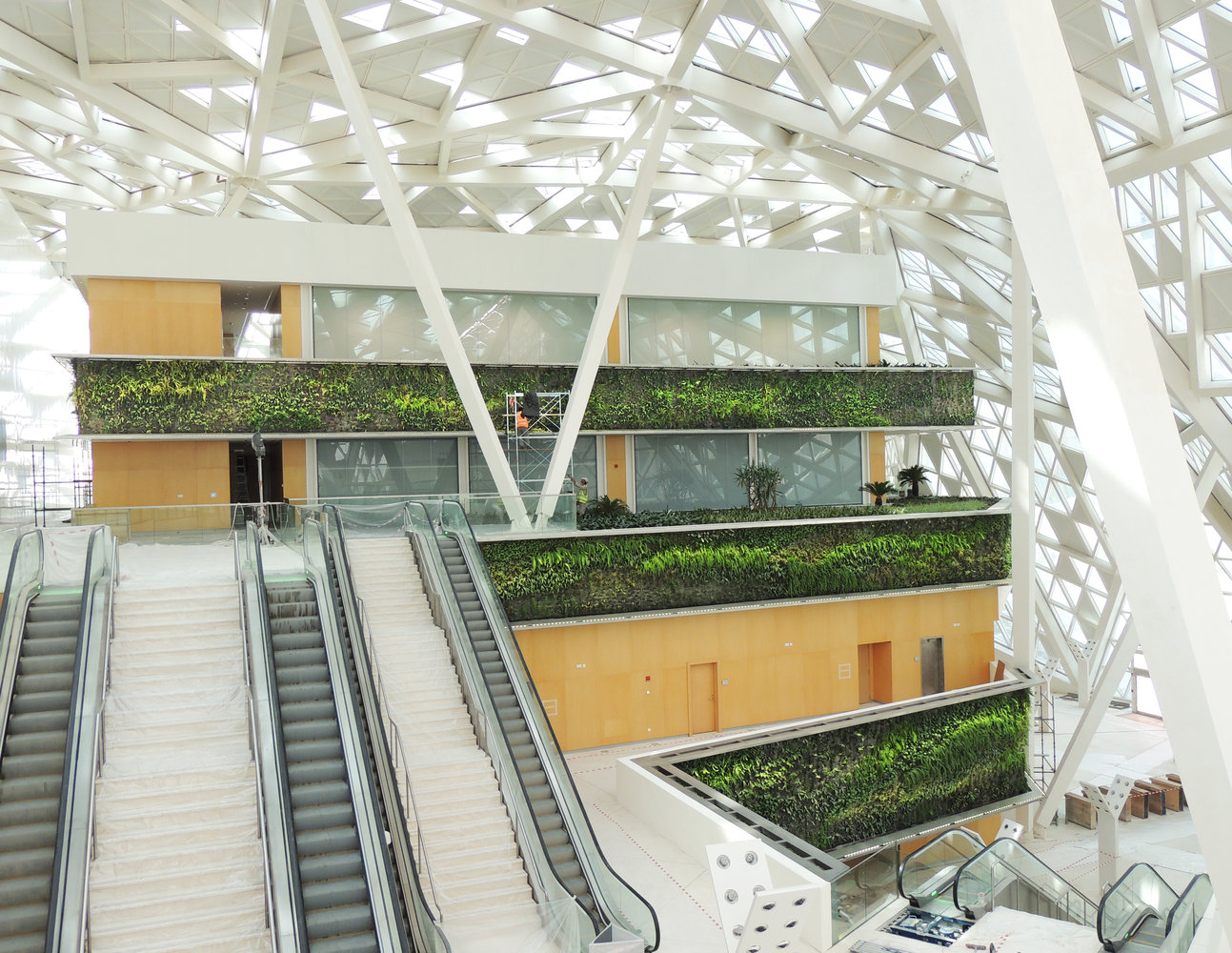 indoor vertical gardens at the kafd conference center riyadh
