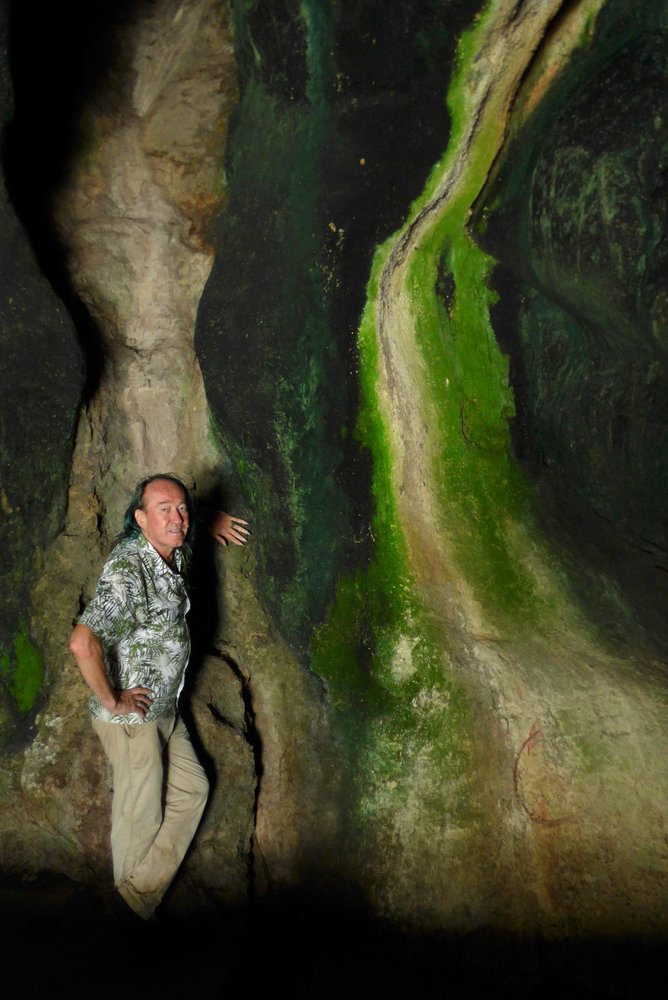 patrick blanc leaning against a vertical limestone wall in a cave with dark blue green cyanobacteria